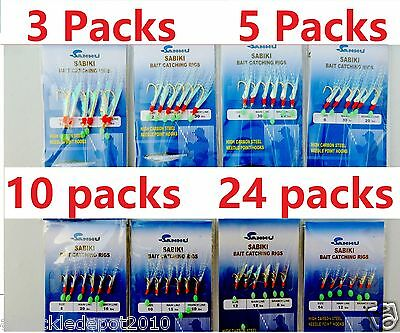 Sabiki Bait Rigs 6 Hooks Saltwater Fishing Lure Size:1/0,1,2,4,6,8,10,12,14- (Hook Bait Rig)