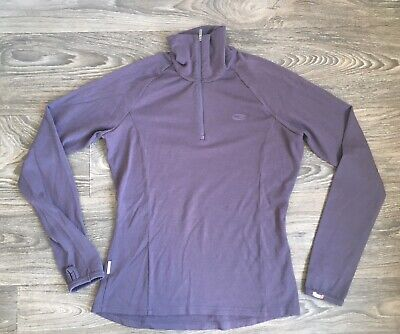 Icebreaker Shirt Base Layer 260 Body Slim Fit Merino Wool Purple 1/4 Zip Women L