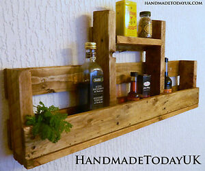 Handmade Rustic Industrial Shelf Kitchen Spice Rack Organiser Pallet Wood
