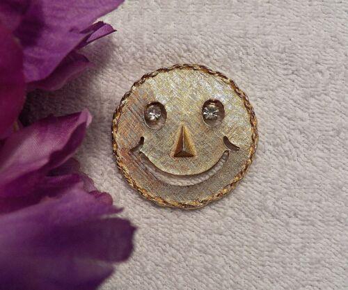 CLASSIC PIN BROOCH SMILEY FACE SUN CELESTIAL BODY RHINESTONE EYES GOLD TON VL-AM