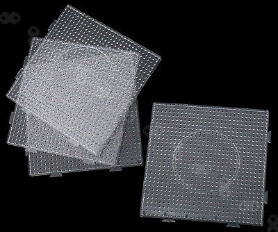 4 Piece Transparent Square Pegboards Board For Hama Fuse Perler Bead Childs Toy