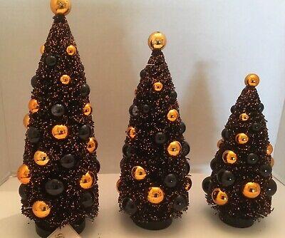 Magic Halloween Bethany Lowe Black Glitter Bottle Brush Trees Set Of Three New