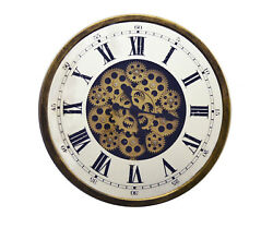 Skeleton Wall Clock With Roman Numerals On Mirrored Glass With Moving Gears