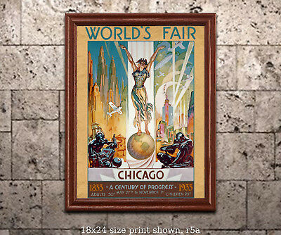 "1933 Chicago World's Fair #1 - ""Columbia"" - 18x24 Vintage Art Deco Poster"
