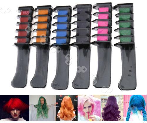 6tlg Temporäre Haarkreide Haar Kamm 6 Farben Färben Haartönung Salon Set
