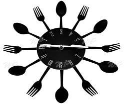 Cutlery Fork + Spoon Retro Modern Black Wall Clock Kitchen Decoration Brand New