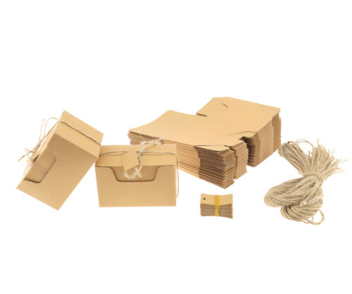 50 Kraft Paper Gift Boxes Candy Cake Cookies Party Wedding Brown Box Tags NEW
