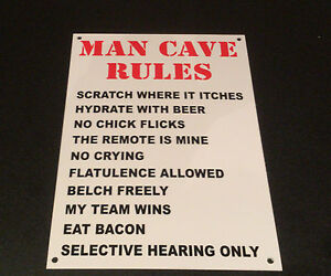 Funny Sign MAN CAVE RULEs fathers day present A5 house, dad, son, grandad shed