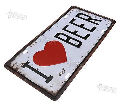 Restaurant Decor - Metal Tin Sign Plaque Poster Bar Wall Pub Restaurant Tavern  LOVE BEER Decor