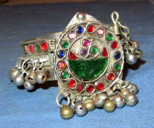 "Bracelet Vintage Watch Face Afghan Kuchi Tribal Alpaca Silver 1"" tall 2.25"" dia"