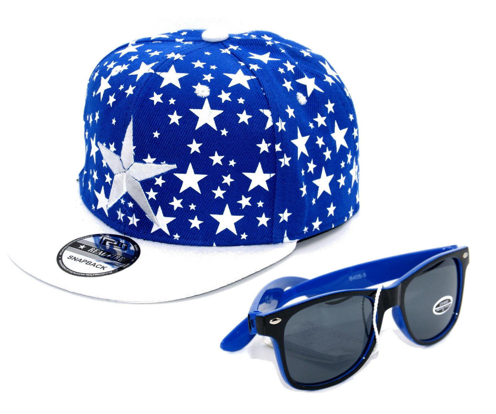 SET Cappy + Sonnenbrille Kinder Junge Jungs Kappe Mütze Snapback Cap Sterne blau