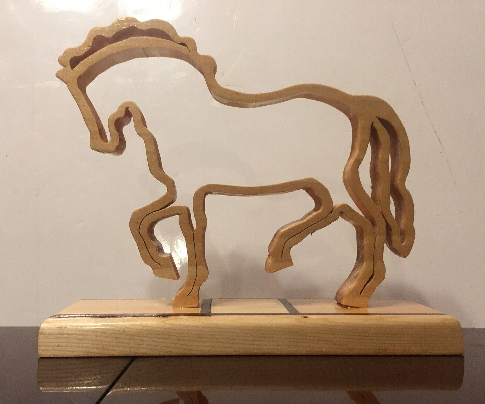 Beautiful Prancing Wood Horse Figurine Art Piece For Table Desk Curio Pedestal