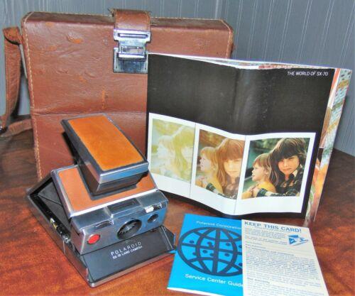 VINTAGE 1970s POLAROID SX70 FOLDING INSTANT CAMERA LEATHER CHROME-WORKS!
