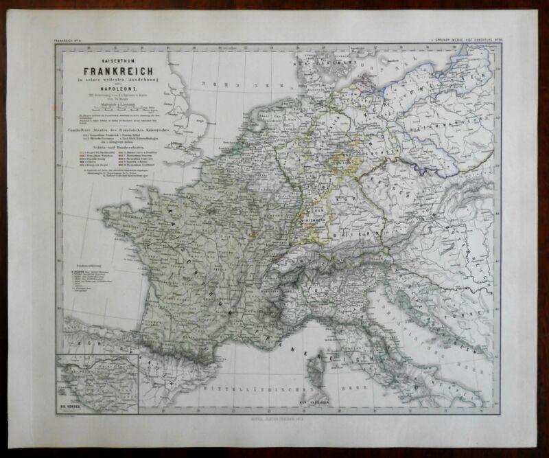 Napoleonic Europe French Empire Prussia Italy Spruner 1877 historical map