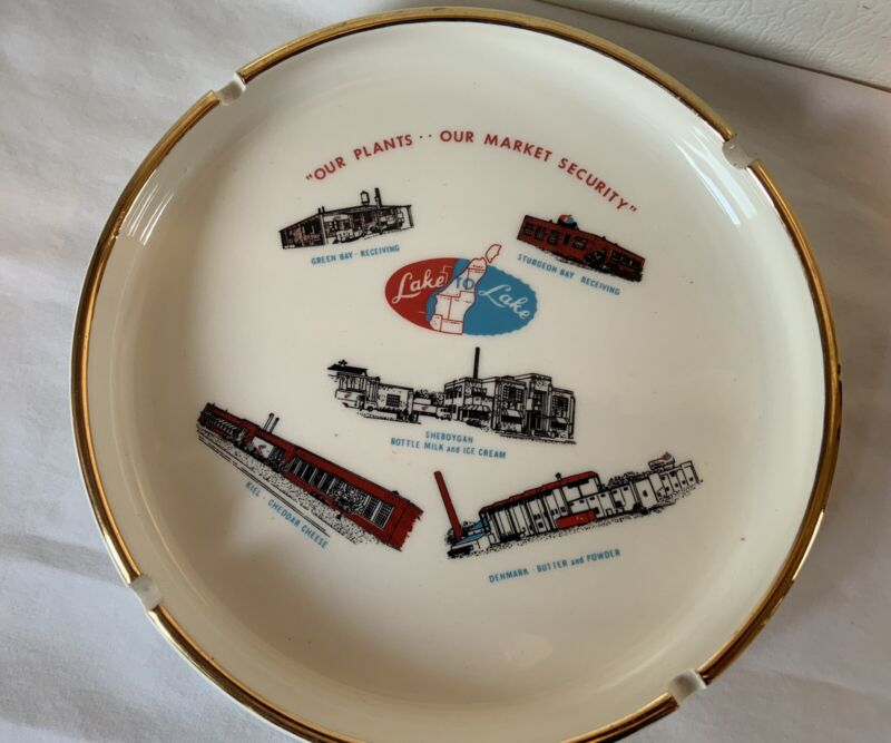 "Vintage Excellent Lake to Lake Dairy Advertising Ashtray 7""  Dairy Tobacciana"