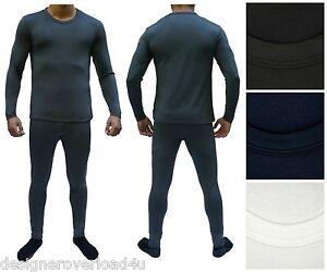 Mens-Fleece-Thermal-Underwear-Set-Brushed-Microfiber-Lining-Wicking-Long-Johns