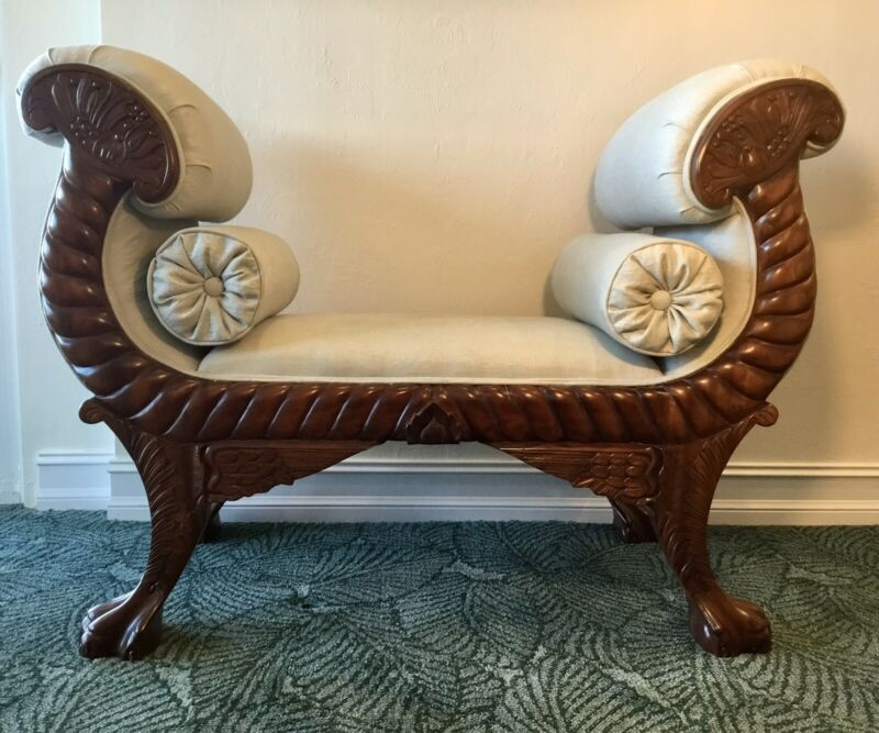 Antique Hand Carved Hardwood & Upholstered Settee Bench German