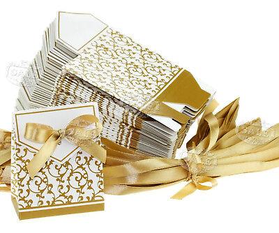 50pcs DIY Wedding Party Gift Ribbon Favours Candy Paper Boxes Gold Colour