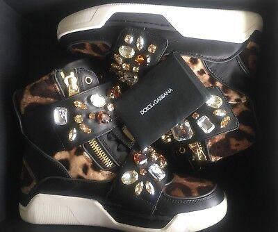 NIB DOLCE & GABBANA Leopard & Black Leather Jeweled High Top Sneakers 35 EU
