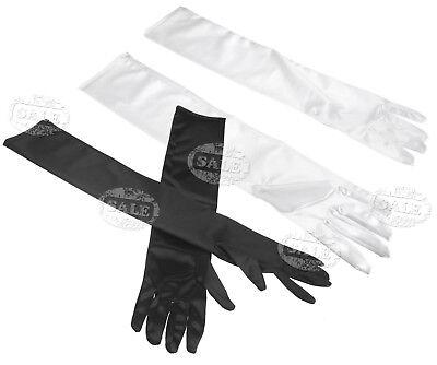 Stretch Long Black Opera Gothic Gloves Womens Elbow Evening 1920s Fancy Dress](Black Gloves Fancy Dress)
