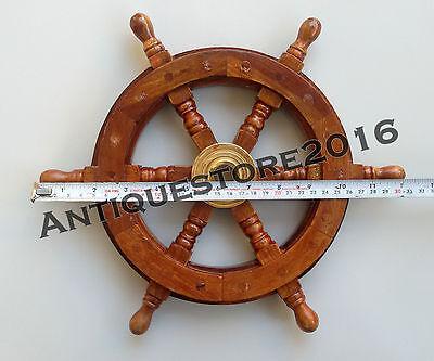 Antique Boat Ship Wheel Wooden Steering Nautical Collectible Christmas Decor