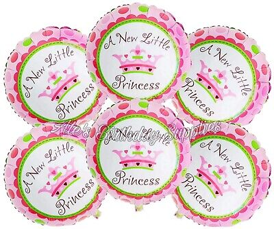 Baby Princess Party Supplies ((6) Pc A New Little Princess Girl Baby Shower Balloons Party Birthday)