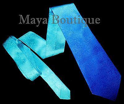 Silk Neck Tie Hand Dyed Blue Turquoise Ombre Maya Matazaro - Art to wear