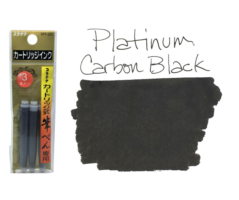 Platinum Brush Pen Ink Cartridges  Pack of 3 - Carbon Black