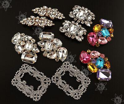 2x Flower Square Crystal Rhinestone Shoe Clips Buckle Wedding Bridal Party Decor ()
