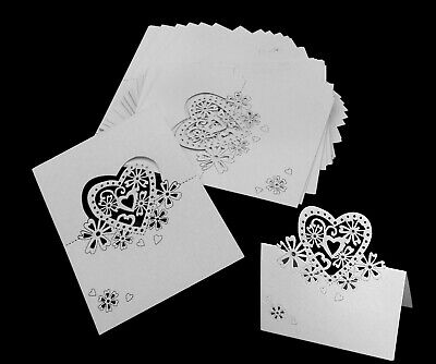 Wedding Name Cards (50PCS Heart Wedding Favors Place Cards Table Memo Number Name Card)