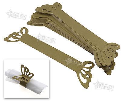 50 Stk Serviettenhalter Tischkarten Hochzeit Bankette Deko Gold Papier Hochzeit