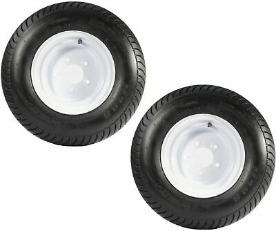 2-Pack Trailer Tire On Rims 20.5 X 8 X 10 205/65-10 20.5X8.0-10 5Lug White Wheel