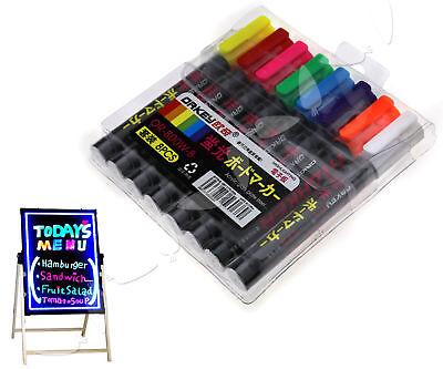 8 X Highlighter Neon Fluorescent Liquid Chalk Marker Pens for LED Writing Board