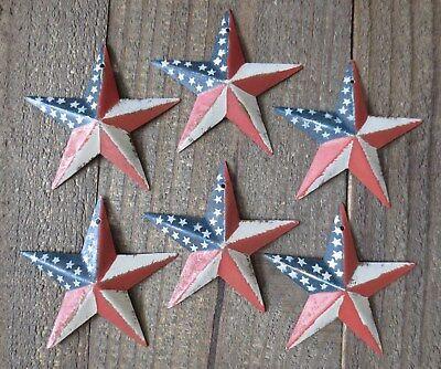 Set of 6 Red White & Blue Flag Barn Star Patriotic Americana Primitive 3.5 inch