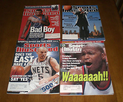 4 SPORTS ILLUSTRATED NEW JERSEY NETS COVERS -  JASON KIDD - DERRICK COLEMAN - Cover New Jersey Nets