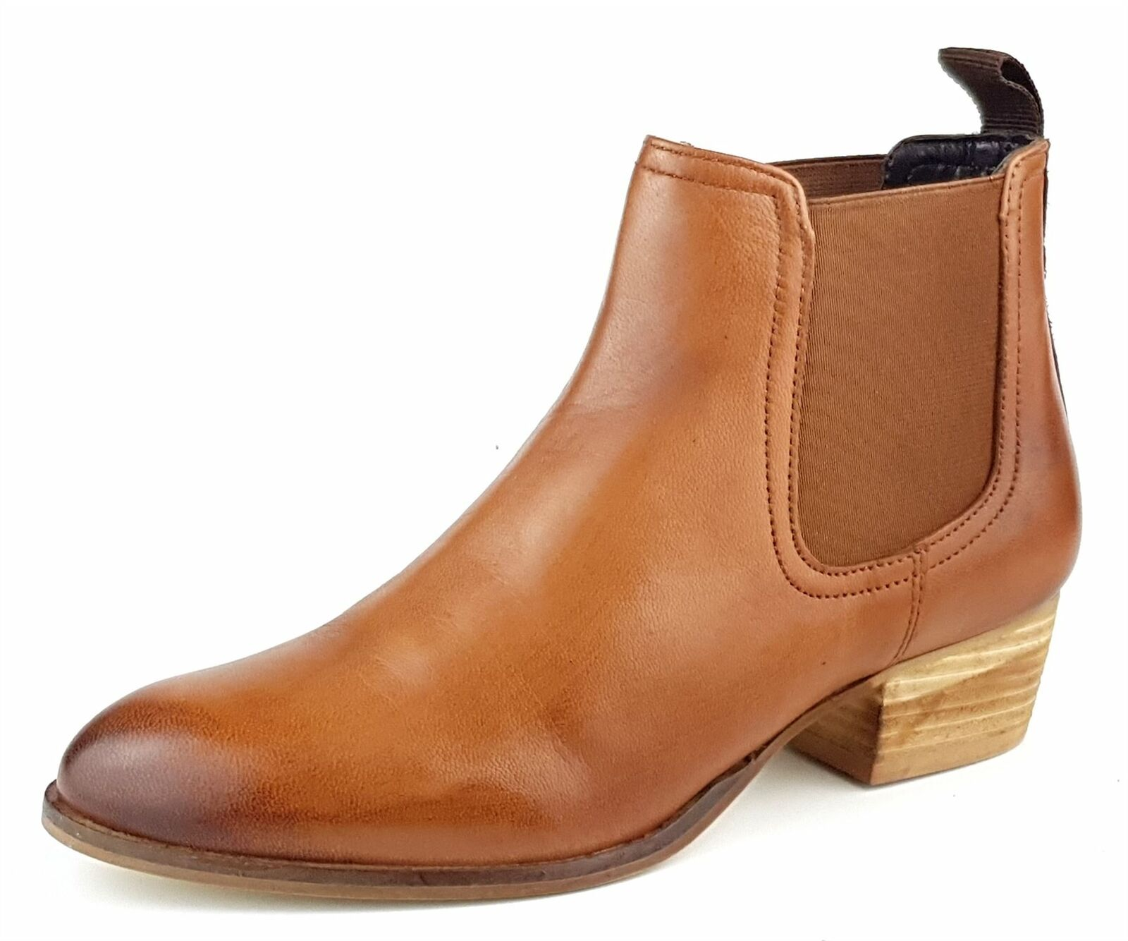 Frank James York Ladies Womans Tan Leather Chelsea Pull On Ankle Heel Boots
