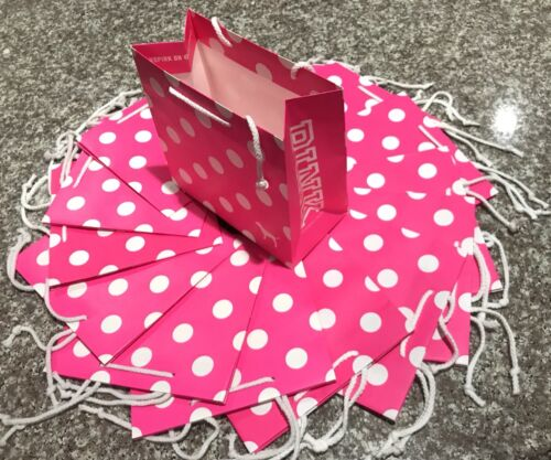 10 Victoria's Secret Pink Dotted Shopping Gift Paper Bags, S