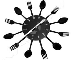 Modern Black Cutlery Retro Wall Clock Fork & Spoon Kitchen Decoration New