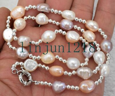 Natural 9-10mm baroque white Pink Purple freshwater pearl necklace 18