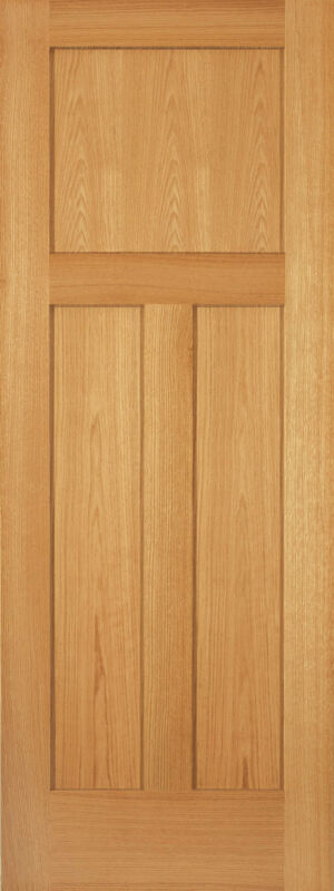 Exterior Red Oak 3 Panel Flat Mission Shaker Solid Core Stain Grade Wood Doors