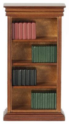(Dollhouse Miniature - WALNUT BOOKSHELF WITH BOOKS - 1/12 scale)
