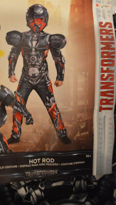 Boy's Transformers Hot Rod 2 Pc Halloween Muscle Costume Outfit Size L(10-12) (Halloween Transformer Costume)