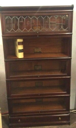 ORIGINAL 1905 GLOBE- WERNICKE 5 SHELF LAWYERS BOOKCASE WITH DRAWER- EX. COND.