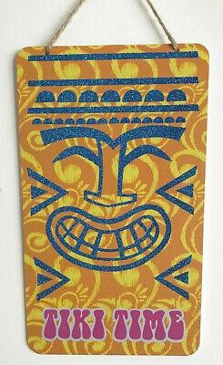 """TIKI TIME Bar Luau Aloha Hawaiian Sign Door Wall Island Decoration 7""""X11"""" w"""