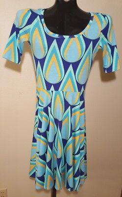 Lularoe Womens Dress Size XS Nicole Teal Yellow Blue Geometric Teardrop Flame