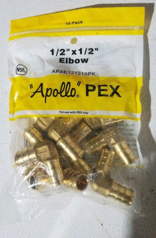"10 PACK  Apollo Pex 1/2"" x 1/2"" Elbow, 90 Deg, 1/2 inch, Pex, Brass"