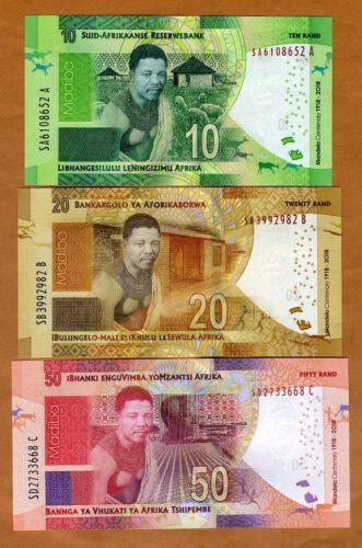 SET, South Africa 10;20;50 rand, 2018 P-New UNC > Commemorative