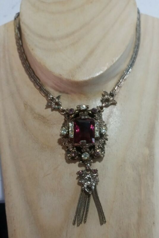 Antique VICTORIAN ETRUSCAN Ornate AMETHYST GLASS Dangle DRAGON FESTOON Necklace