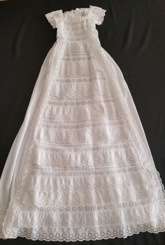 """Vintage English Victorian 38"""" Christening Gown Broderie Anglais Tiered Frills"""