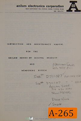 Anilam Bt Series Dro Measuring System Instruction Maintenance Manual 1977